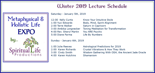 January Metaphysical and Holistic Life EXPO Lecture Schedule 2019
