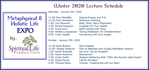 January Metaphysical and Holistic Life EXPO Lecture Schedule 2020