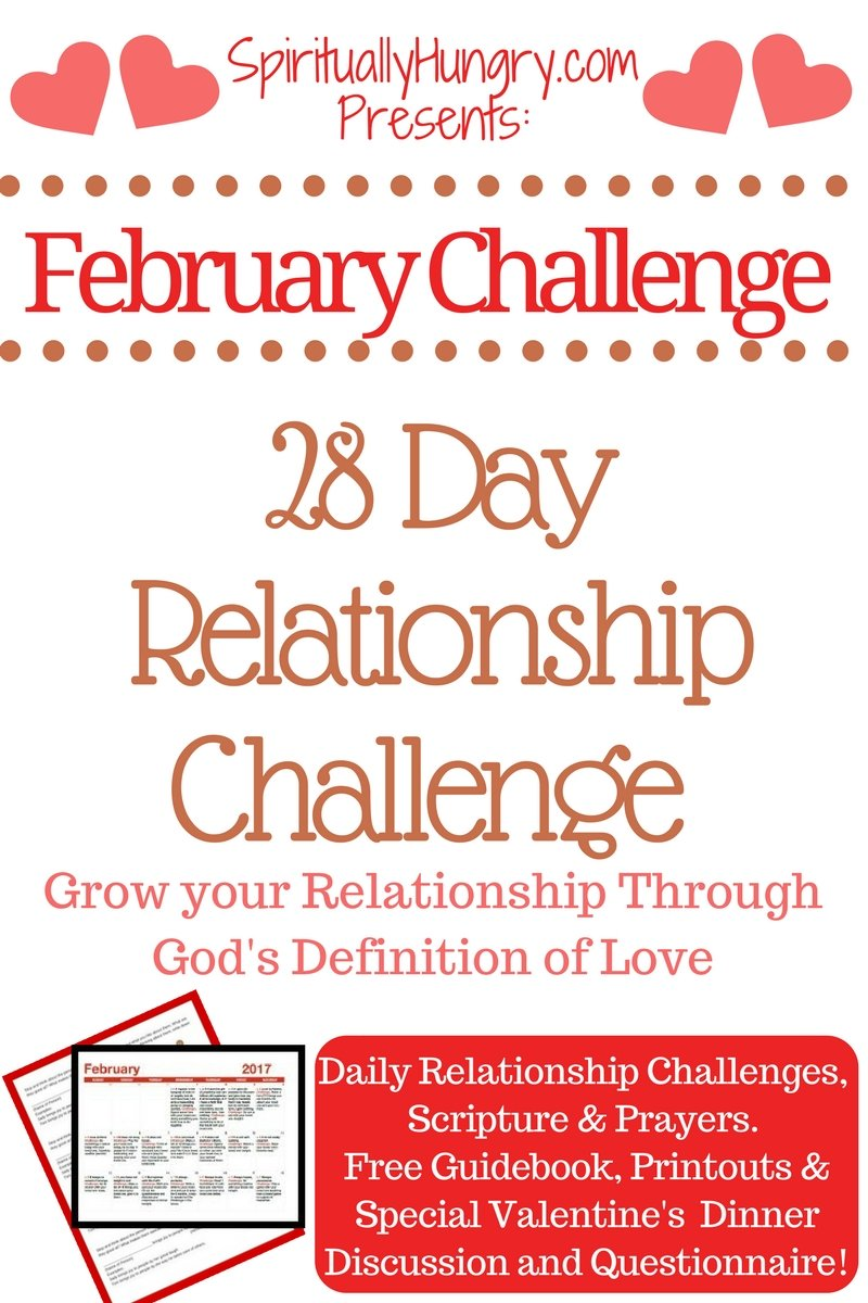 Looking to improve your relationship with a loved one? Spend the next 28 days working on your relationship through God's definition of love, 1 Cor. 13. Free guidebook and goodies included to give you the tools to succeed. Learn to love from the true source of love, God.
