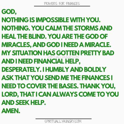 Prayers For Finances