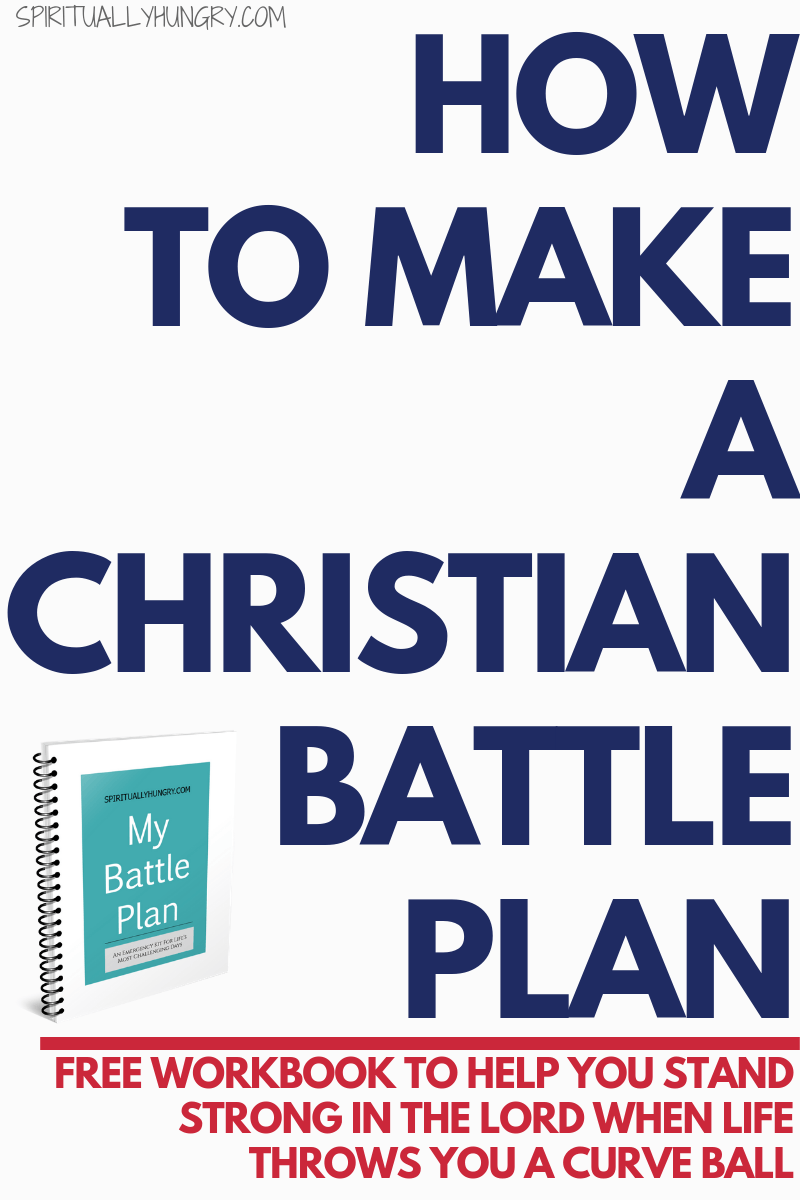 In this free downloadable workbook, you will be able to create your very own battle plan for when life throws you a curve ball. This is an excellent tool to help you keep your eyes on God instead of your circumstances.