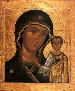 Our Lady of Kazan. 16th-century copy of the icon from the Elokhovo Cathedral in Moscow
