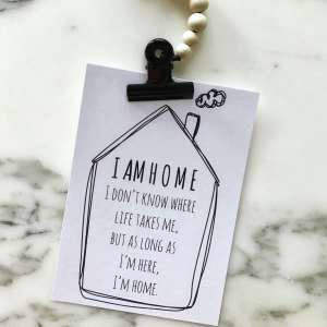 I am home postcard