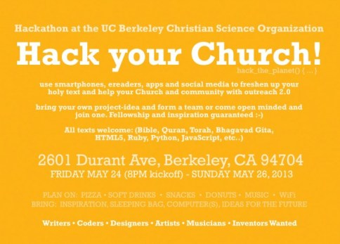 Hack Your Church! postcard back