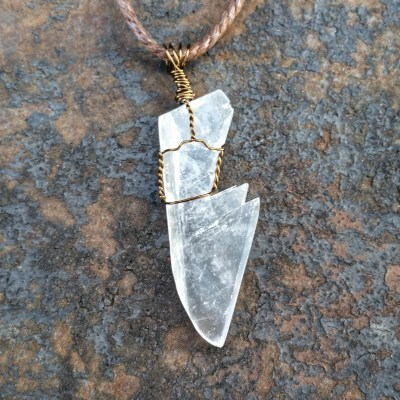 Selenite Wire Wrapped Crystal Pendant
