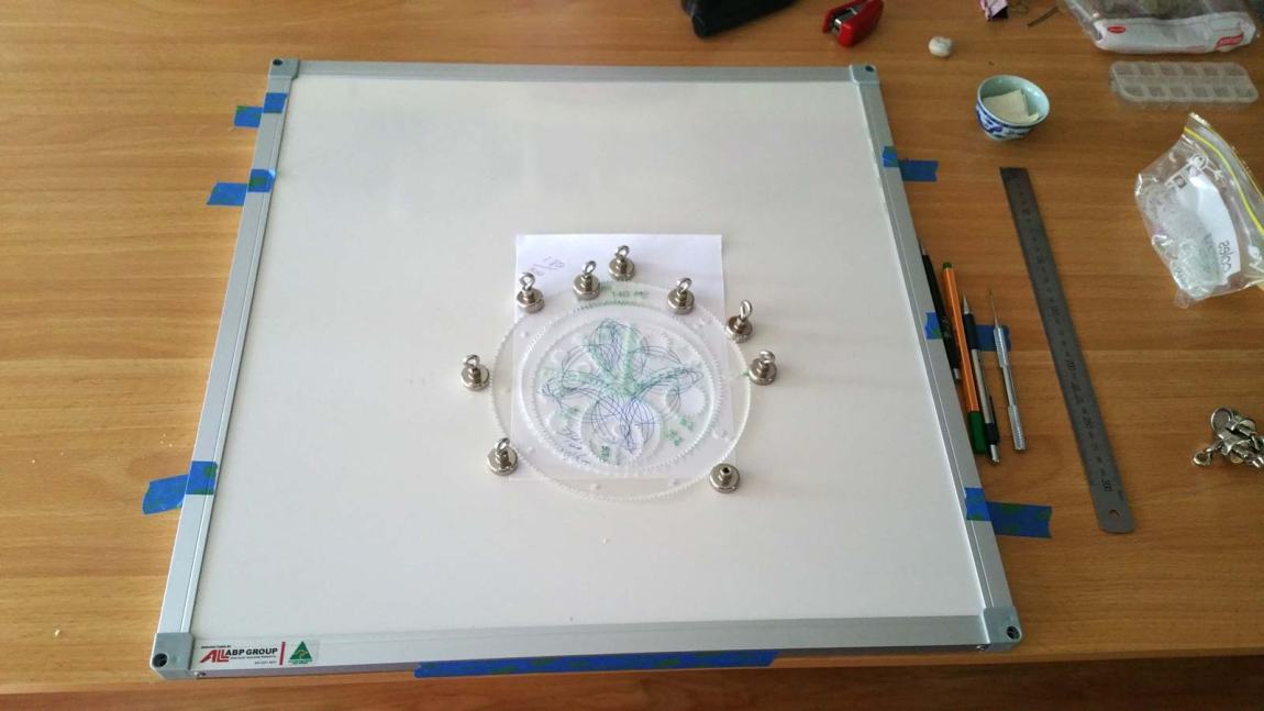 white board, magnets, and Wild Gears