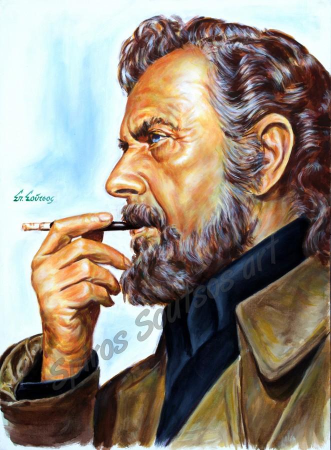 Yannis Ritsos portrait painting / Γιάννης Ρίτσος πορτραίτο αφίσα, αυθεντικός πίνακας ζωγραφικής