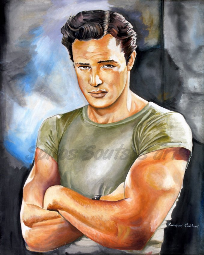 "Marlon Brando ""A Streetcar Named Desire"" 1951 movie poster, painting portrait"