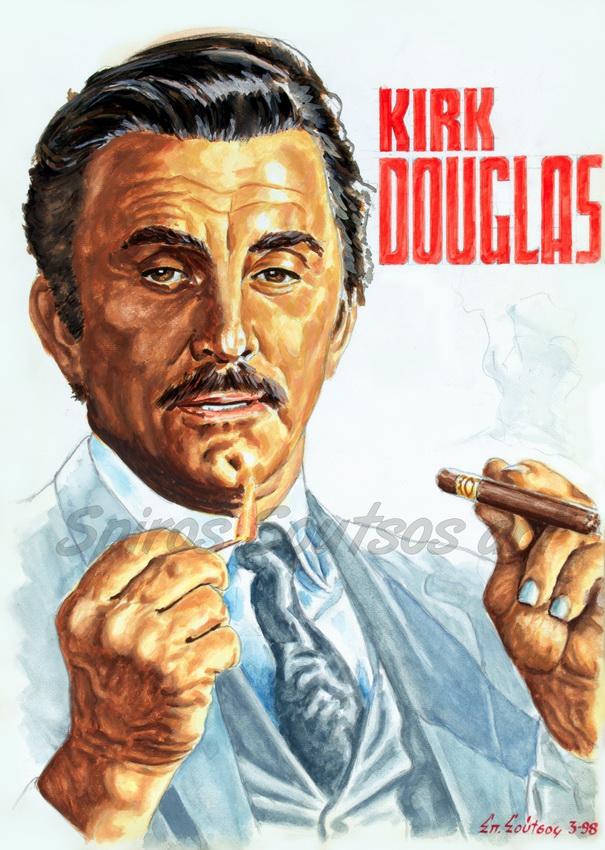 "Kirk Douglas ""The Brotherhood"" 1968 original painting portrait, movie poster art"