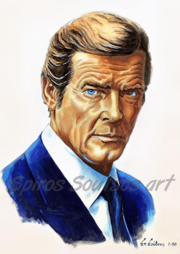 "Roger Moore ""Octopussy"" 1983 original painting portrait, James Bond 007 movie poster art"