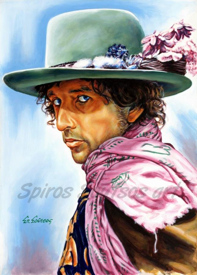 Bob Dylan painting portrait, poster, original hand-painted artwork