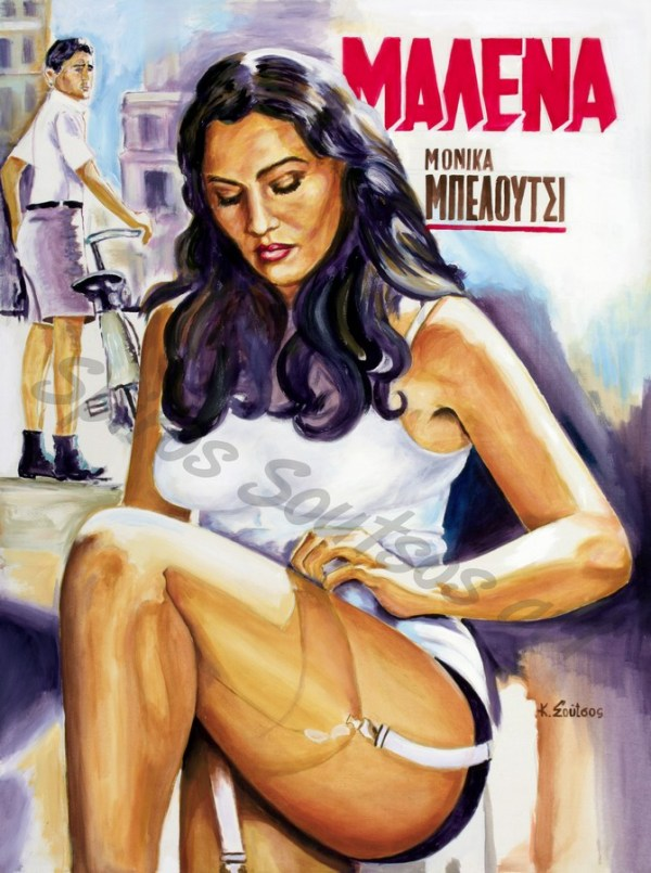 malena_monica_belluci_movie_poster_painting_acrylic_portrait