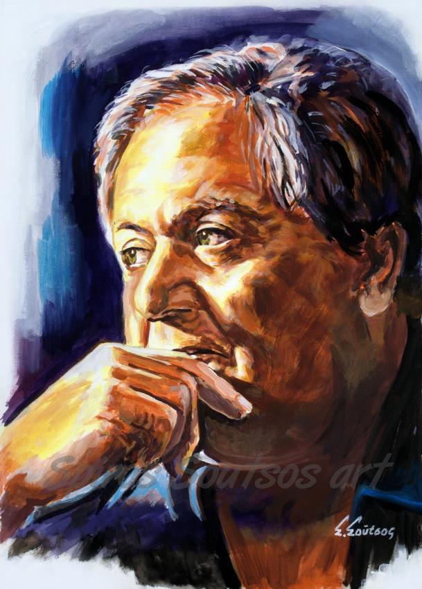 Manos Hadjidakis portrait painting / Μάνος Χατζιδάκις πορτραίτο, πίνακας ζωγραφικής, αφίσα