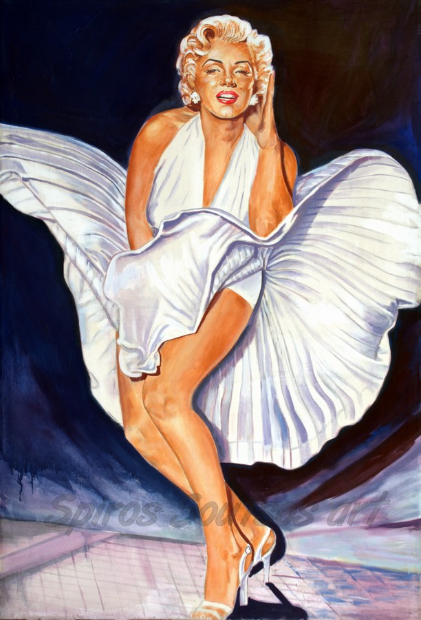 "Marilyn Monroe painting portrait, ""The Seven Year Itch"" 1955 movie poster"