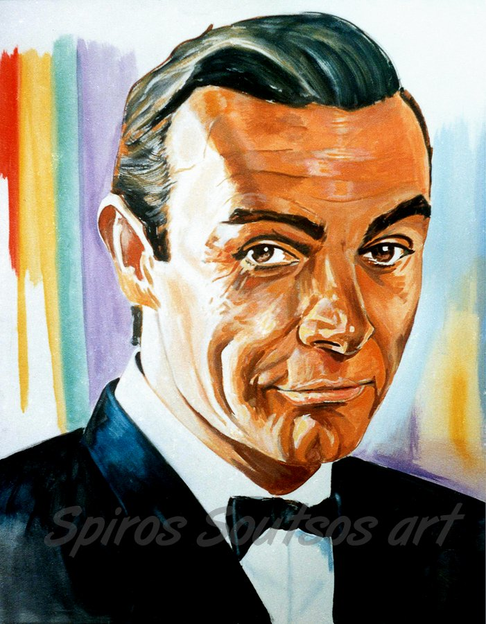 "Sean Connery ""From Russia With Love"" 1963, James Bond 007 movie poster, painting portrait"