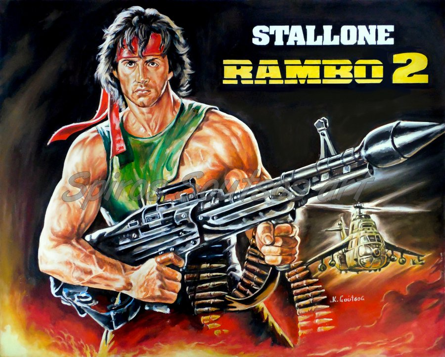 Rambo: First Blood Part II (1985) Sylvester Stallone portrait painting, original Giant-movie poster