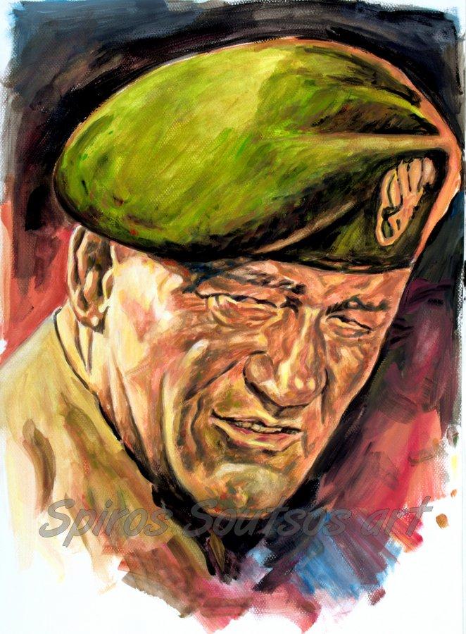 John Wayne, The Green Berets (1968) original painting portrait, movie poster