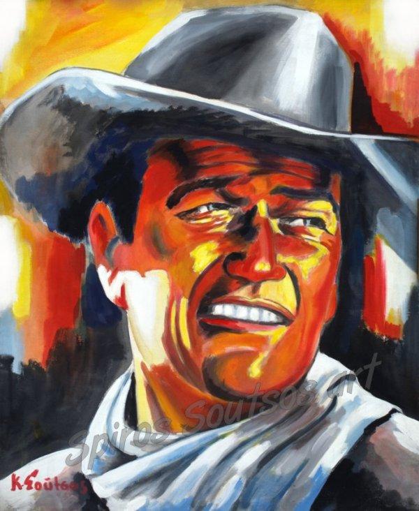 john_wayne_painting_portrait_western_movie_poster_hondo_searchers