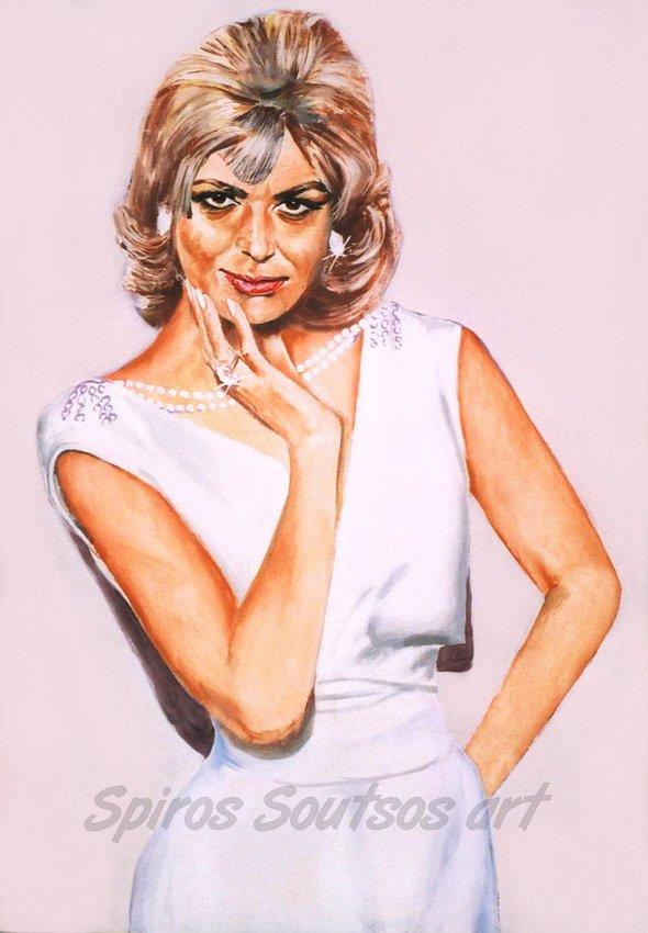 Melina Mercouri / Μελίνα Μερκούρη πορτραίτο, αυθεντικός πίνακας ζωγραφικής