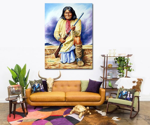 Geronimo_painting_portrait_canvas_poster_apache_indian_sofa