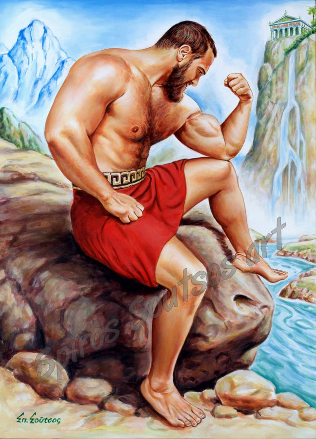 Ancient Greek Wrestler, Sparta, original painting artwork