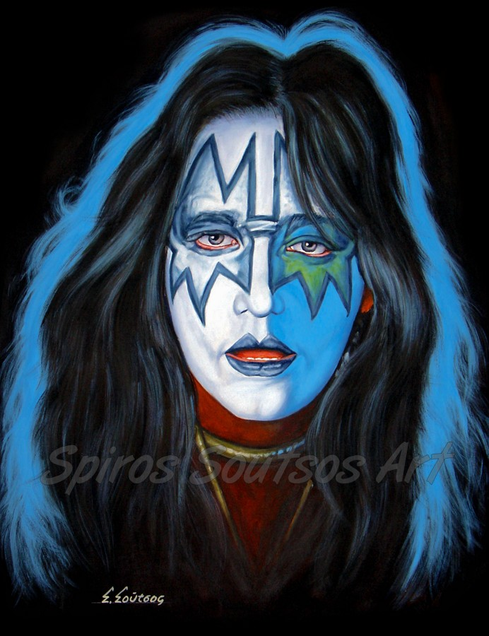 Ace Frehley painting portrait, KISS poster