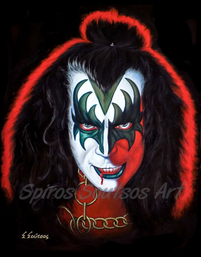 Gene Simmons painting portrait, KISS poster