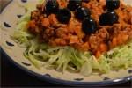 Luksus kødsovs med pasta af spidskål