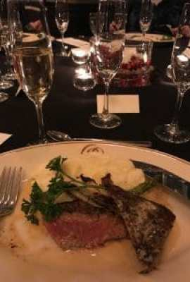 Krug Grand Cuvee paired with New York strip steak