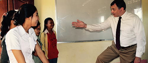 Ambassador Heidt talking with our graduates