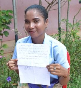Li Mao and her thank you letter