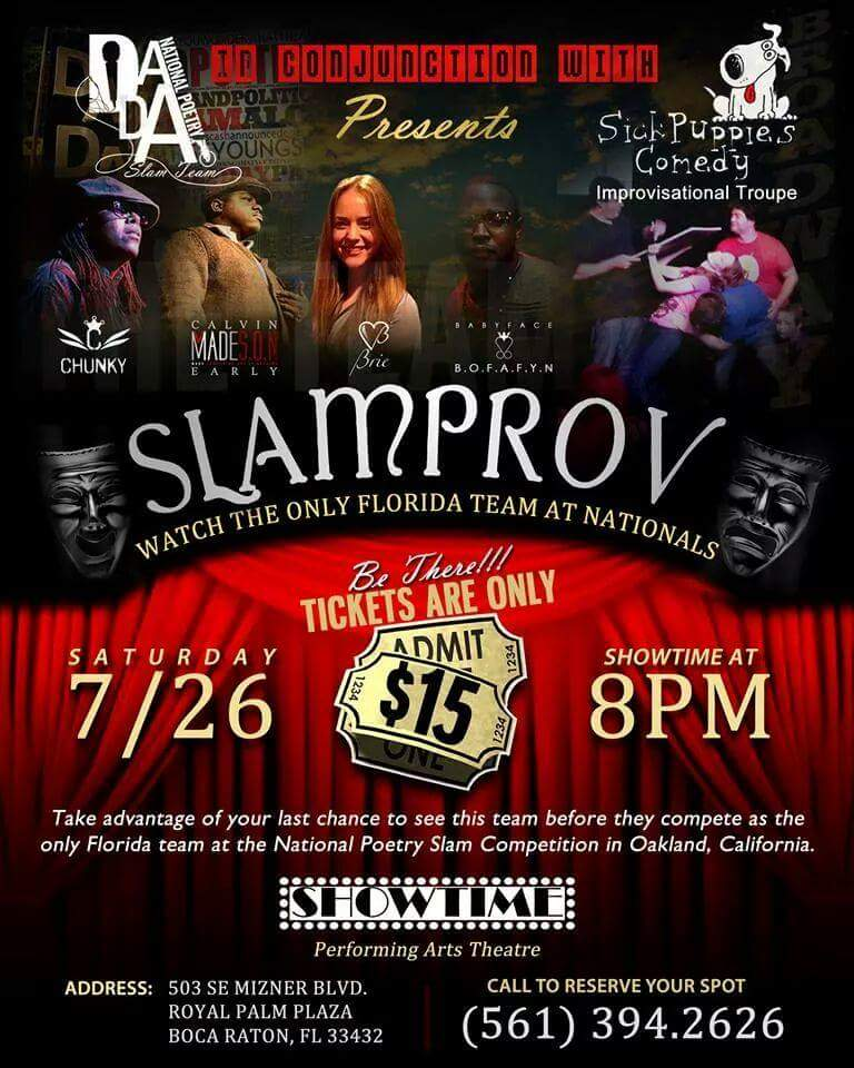 Slamprov flyer with Chunky, Spittfiya Chunk, Dada's National Slam Poetry Team