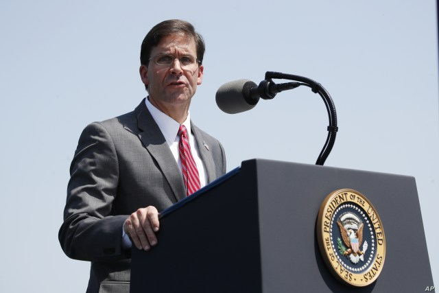 Secretary of Defense Mark Esper speaks during a full honors welcoming ceremony for him at the Pentagon, July 25, 2019.