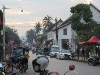 Main street at sunset.