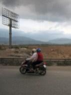 disused billboard, motorbike