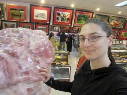 me with giant rose quartz