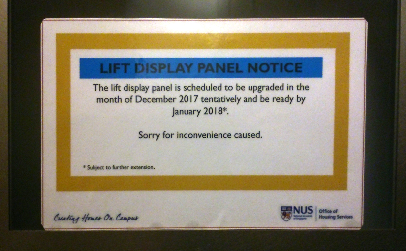 Lift Display Panel Notice
