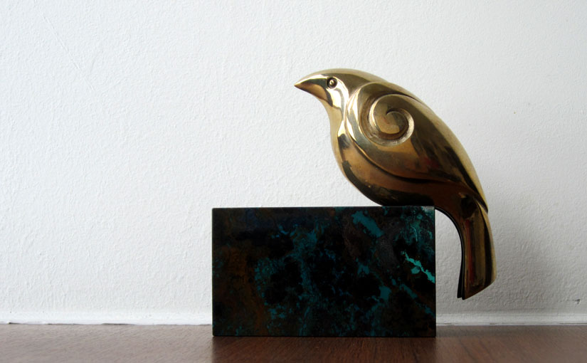 Brass bird sculpture from Waiheke Island