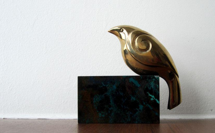 Brass bird sculpture from Waiheke Island