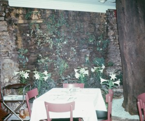 Another view of the dining room water fall at Lavender Hal