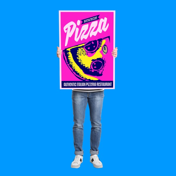 Man holding Pizza poster on light grey background
