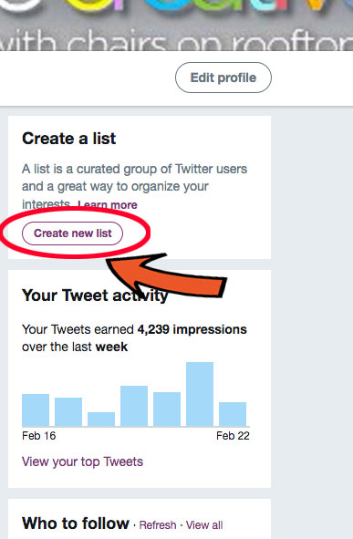 Step 4 for creating a Twitter list: Create.