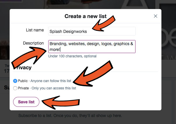 Step 5 for creating a Twitter list: Setup.