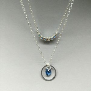 Dainty London Blue Quartz Necklace 16 Inches Delicate simple small facet beads Sterling Silver Magnetic Clasp