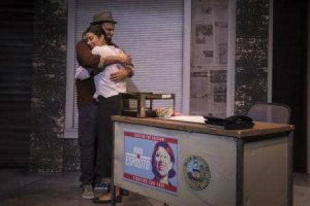 Reporter Benny hugs Nina
