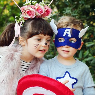 Happy Halloween from the Pink Bunny Flower Princess and Captain America!
