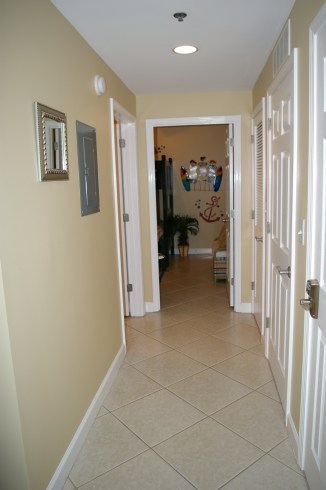 Hallway to guest bathroom and guest bedroom