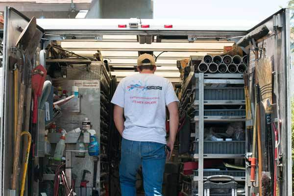 Commercial Plumber in Orange County CA gets parts off the truck