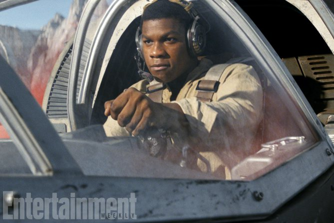 Finn (John Boyega) in a Ski Speeder on Crait