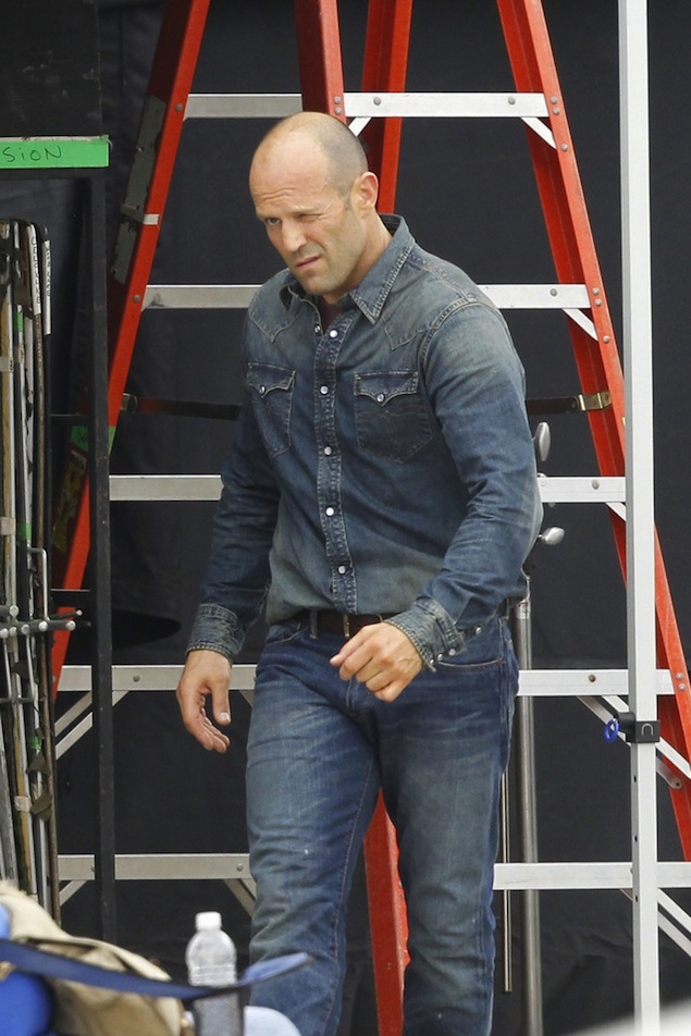 Jason Statham Wearing RRL Denim Western Shirt On The Set